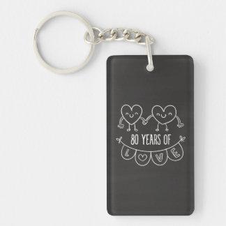 80th Anniversary Gift Chalk Hearts Keychain