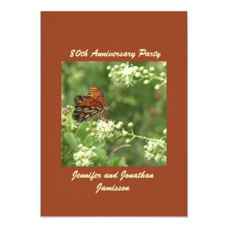 80th Anniversary Party Invitation Orange Butterfly