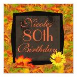 """80th AUTUMN BIRTHDAY INVITATIONS 5.25"""" Square Invitation Card"""