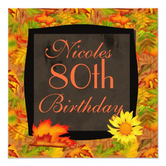 80th autumn birthday invitations zazzle 80th autumn birthday invitations filmwisefo