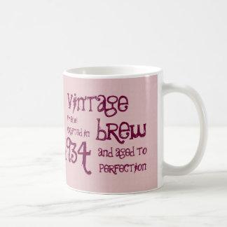 80th Birthday 1934 Vintage Brew or Any Year V80A Classic White Coffee Mug