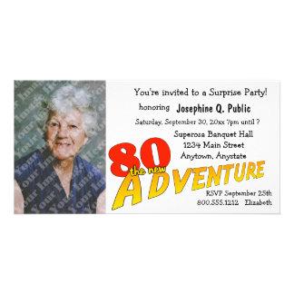 80th Birthday Adventure Party Photo Invitation