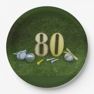 80th birthday anniversarty for golfer paper plate