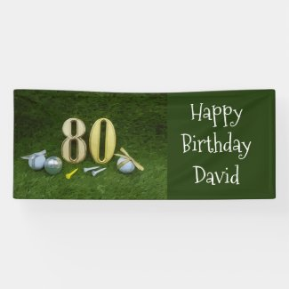 80th Birthday Anniversary to golfer with golf ball Banner