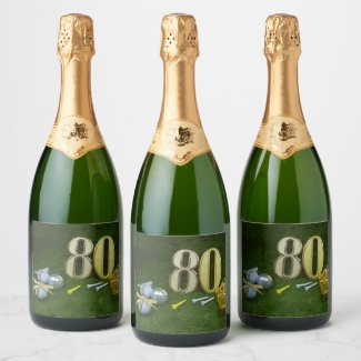 80th Birthday Anniversary to golfer with golf ball Champagne Label