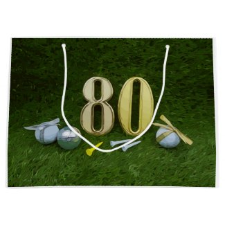 80th Birthday Anniversary to golfer with golf ball Large Gift Bag