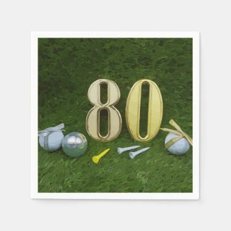80th Birthday Anniversary to golfer with golf ball Napkins