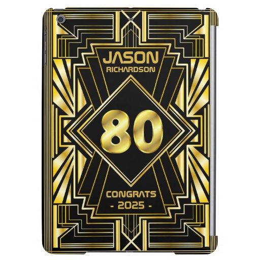 80th Birthday Art Deco Gold Black Great Gatsby Case For iPad Air
