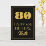 "[ Thumbnail: 80th Birthday – Art Deco Inspired Look ""80"" & Name Card ]"