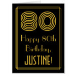"[ Thumbnail: 80th Birthday: Art Deco Inspired Look ""80"" + Name Card ]"