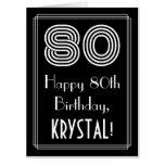 "[ Thumbnail: 80th Birthday — Art Deco Inspired Look ""80"" + Name Card ]"