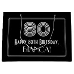 "[ Thumbnail: 80th Birthday — Art Deco Inspired Look ""80"" & Name Gift Bag ]"