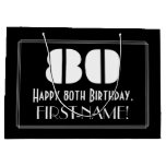 "[ Thumbnail: 80th Birthday ~ Art Deco Inspired Look ""80"" + Name Gift Bag ]"