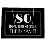 "[ Thumbnail: 80th Birthday: Art Deco Inspired Style ""80"", Name Gift Bag ]"