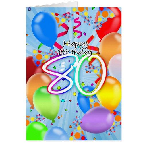 80th Birthday Balloon Card Happy Birt Zazzle