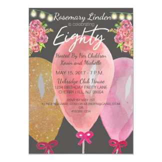 80th Birthday Balloons Flowers and Lights Invite
