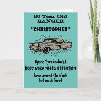 80th Birthday Banger Love Vintage Car Retro Style Card