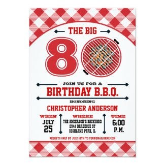 80th Birthday Barbecue Invitation