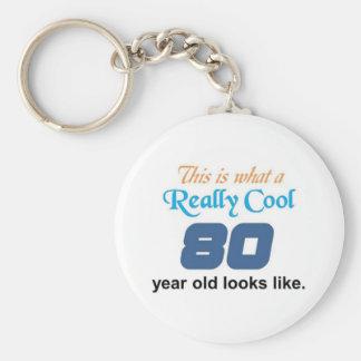 80th Birthday Basic Round Button Keychain