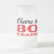 80th Birthday Beer Glass   Gift Mug for men