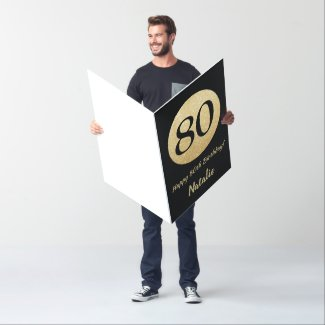 80th Birthday Black Gold Glitter Extra Large Jumbo Card