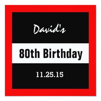 80th Birthday Black with Red Frame Custom A01E Card