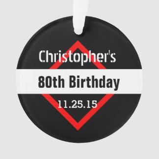 80th Birthday Black with Red Frame Custom A01E Ornament