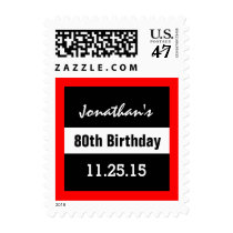 80th Birthday Black with Red Frame Custom A01F1 Postage