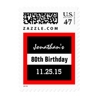 80th Birthday Black with Red Frame Custom A01F1 Postage
