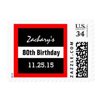 80th Birthday Black with Red Frame Custom A01F2 Postage