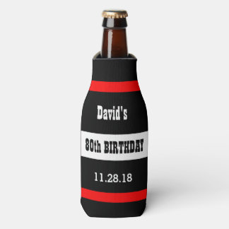 80th Birthday Black with Red Frame Custom A08A Bottle Cooler