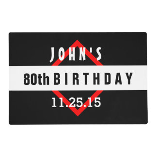 80th Birthday Black with Red Frame Custom A33 Placemat