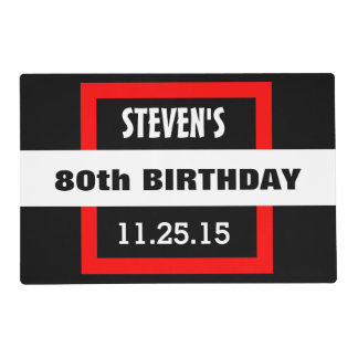 80th Birthday Black with Red Frame Custom A40 Placemat