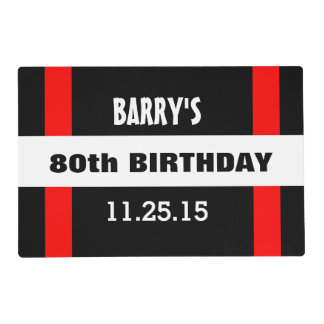 80th Birthday Black with Red Frame Custom A40A Placemat