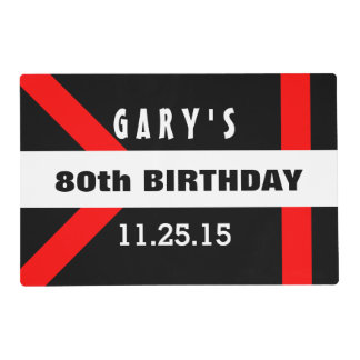 80th Birthday Black with Red Frame Custom A40B Placemat