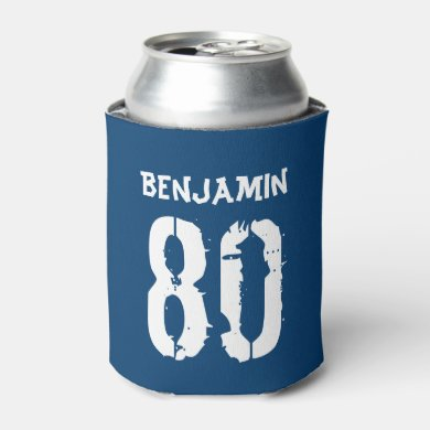 80th Birthday Blue Personalized Can Cooler