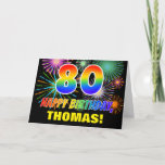 [ Thumbnail: 80th Birthday: Bold, Fun, Fireworks, Rainbow 80 Card ]