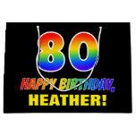 [ Thumbnail: 80th Birthday: Bold, Fun, Simple, Rainbow 80 Gift Bag ]