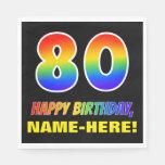 [ Thumbnail: 80th Birthday: Bold, Fun, Simple, Rainbow 80 Napkins ]