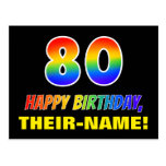 [ Thumbnail: 80th Birthday: Bold, Fun, Simple, Rainbow 80 Postcard ]