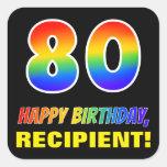 [ Thumbnail: 80th Birthday: Bold, Fun, Simple, Rainbow 80 Sticker ]