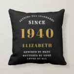 """80th Birthday Born 1940 Loved Add Your Name Black Throw Pillow<br><div class=""""desc"""">For those born in 1940 and celebrating their 80th birthday we have the ideal surprise birthday party throw pillow gift. The black background with a white and gold design is simple and yet elegant. Easily customize the text to the front and the interior of these party supplies using the template...</div>"""