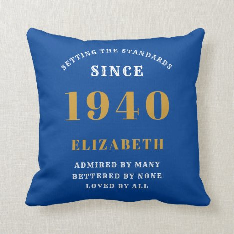 80th Birthday Born 1940 Loved Add Your Name Blue Throw Pillow