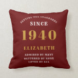 """80th Birthday Born 1940 Loved Add Your Name Red Throw Pillow<br><div class=""""desc"""">For those born in 1940 and celebrating their 80th birthday we have the ideal surprise birthday party throw pillow gift. The red background with a white and gold design is simple and yet elegant. Easily customize the text to the front and the interior of these party supplies using the template...</div>"""