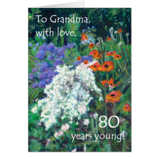 80th Birthday Card for a Grandmother - June Garden