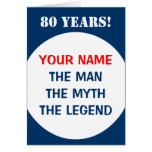 80th Birthday card for men | The man myth legend