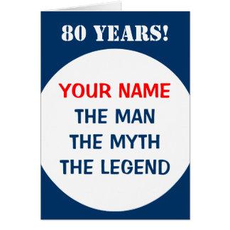 80th Birthday card for men   The man myth legend