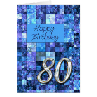 80th Birthday card with abstract squares.