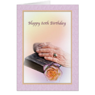 80th Birthday Card with Aged Hands and Bible