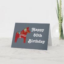 80th Birthday Card with Dala Horse